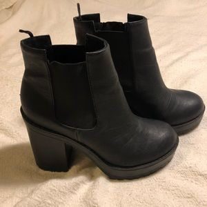 Platform, thick tread ankle booties